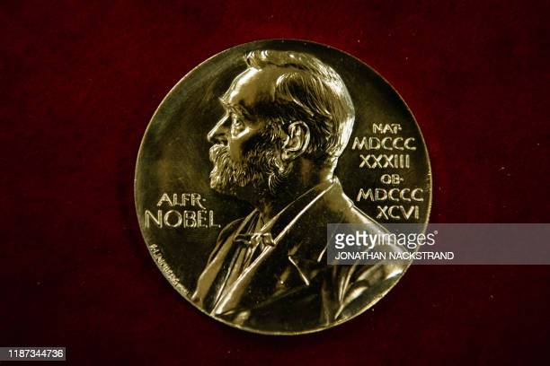 A Nobel Prize medal is pictured during the production process on October 29 2019 in Eskilstuna Sweden The Nobel Prize awards ceremonies will take...