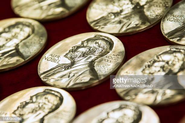 Nobel Prize medals are pictured at the end of the production on October 29 2019 in Eskilstuna Sweden The Nobel Prize awards ceremonies will take...