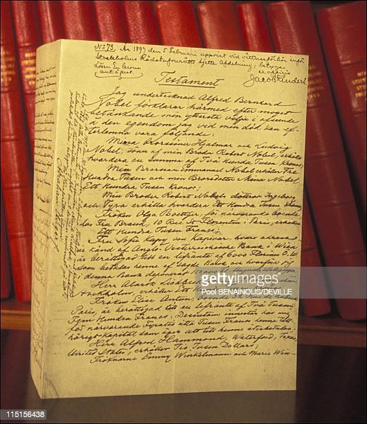 Nobel Prize The Academies in Stockholm Sweden in May 1996 Alfred Nobel's last will and testament