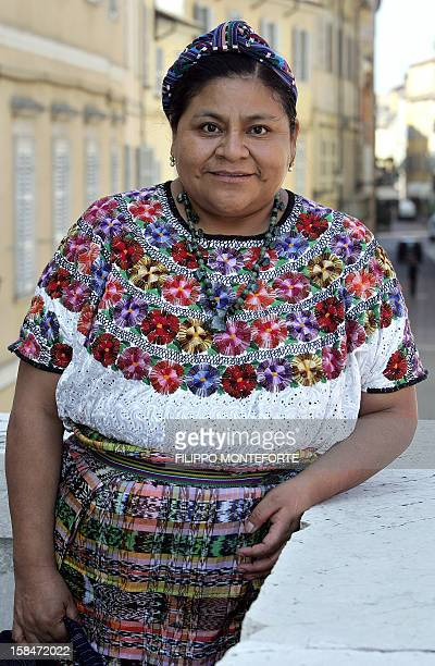 Nobel prize winner for peace Rigoberta Menchu' Tum from the Guatemala poses for the photographer during the first International Summit 'Mothers of...