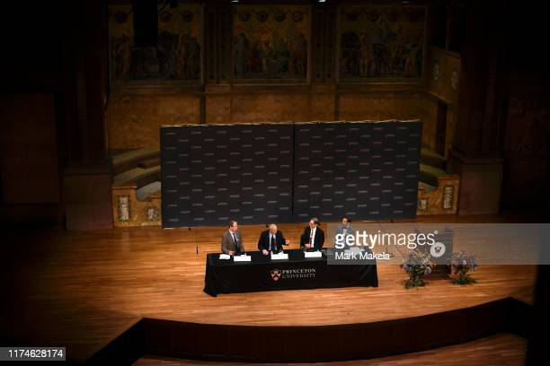 Nobel Prize winner James Peebles speaks during a press conference at Princeton University on October 8 2019 in Princeton New Jersey Peebles was...