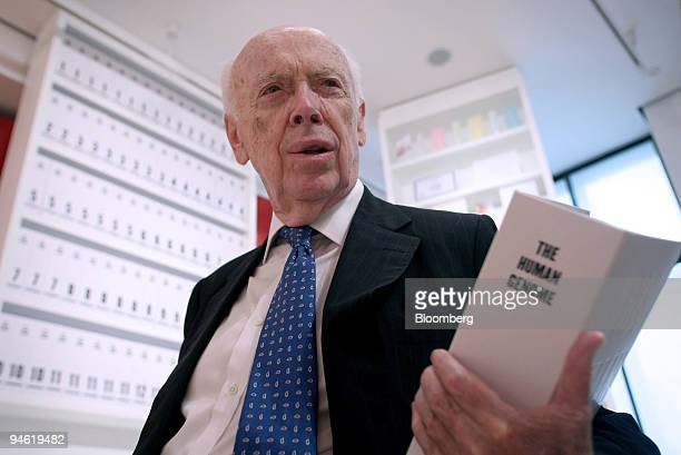 Nobel Prize winner Professor James Watson codiscoverer of the structure of DNA poses at the Wellcome Collection exhibition in central London UK...