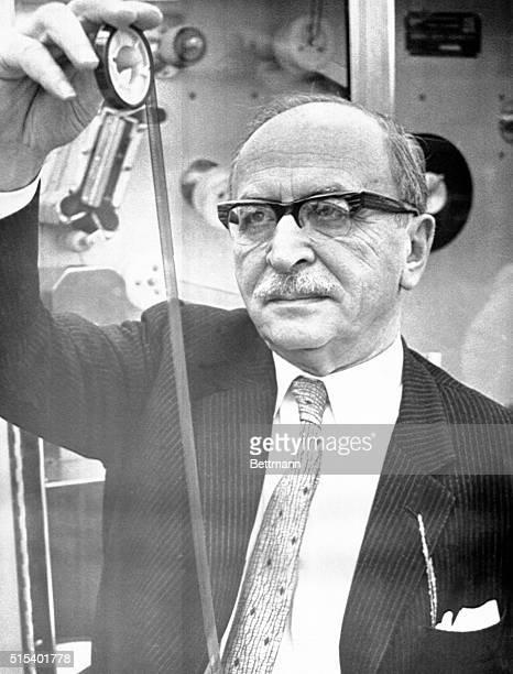 Nobel Prize Winner. Stamford, Connecticut: Dr. Dennis Gabor at work in CBS laboratories in 1969. Professor Gabor, a British scientist working in the...