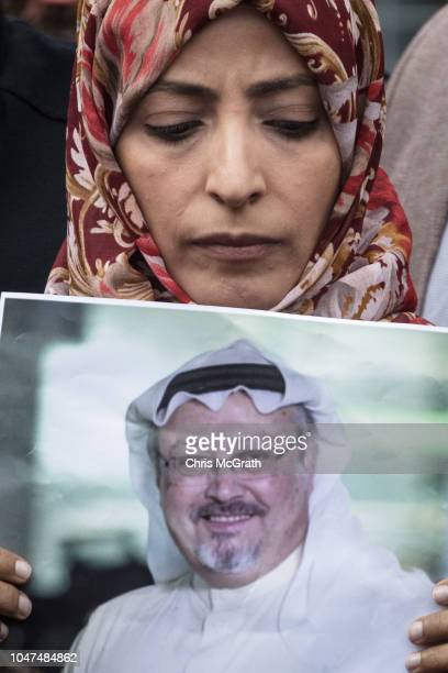 Nobel Prize winner Tawakkol Karman holds a poster of Saudi journalist Jamal Khashoggi during a protest outside Saudi Arabia's consulate on October 8...
