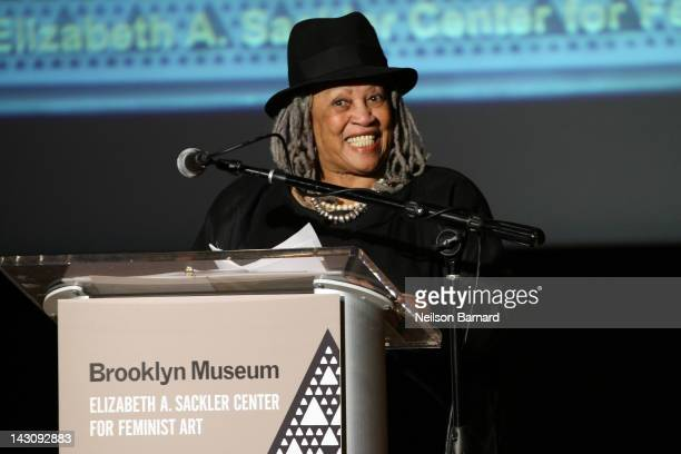 Nobel Prize winning author and honoree Toni Morrison speaks on stage during the Brooklyn Museum's Sackler Center First Awards at the Brooklyn Museum...