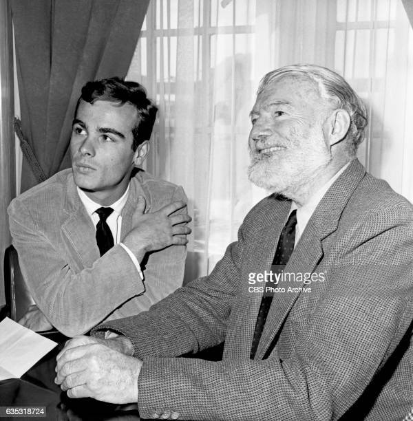 Nobel prize winning author Ernest Hemingway advises actor Dean Stockwell how to play the leading role of Nick Adams the Hemingway hero in The Killers...