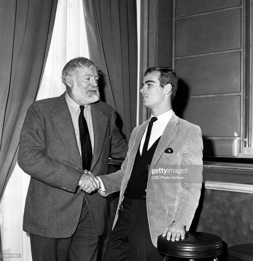Nobel prize winning author Ernest Hemingway advises actor Dean Stockwell how to play the leading role of Nick Adams, the Hemingway hero, in 'The Killers' on CBS Television Networks 'Buick Electra Playhouse.' Hemingway returned from Europe to attend rehearsals of the 90-minute drama in New York. Image dated November 2, 1959, New York NY. Original broadcast date of the production, November 19, 1959.