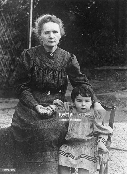 Nobel Prize winning French scientist Marie Curie with her daughter Eve