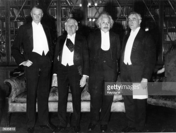 Nobel prize-winners at a dinner to honour the centenary of the birth of Alfred Nobel, founder of the Nobel prizes. From left to right: US novelist...