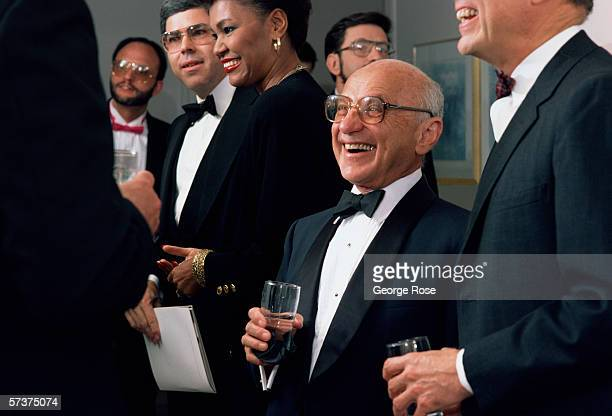 Nobel Prize-winning economist Milton Friedman attends a 1986 Beverly Hills charity dinner in his honor. For much of the 1980s, Friedman's economic...