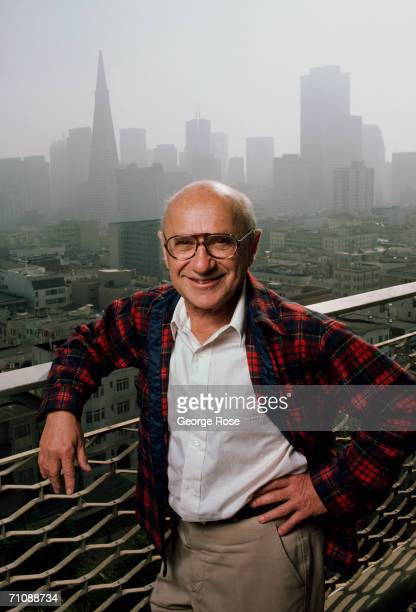 Nobel Prize-winning economist Milton Friedman poses on the balcony of his home overlooking the downtown skyline during a 1986 San Francisco,...