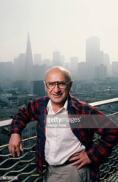 Nobel Prize-winning economist Milton Friedman poses on the balcony of his home during a 1986 San Francisco, California, photo portrait session. For...