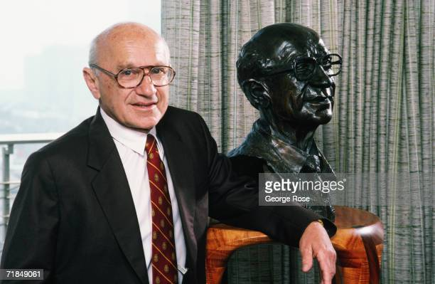 Nobel Prize-winning economist Milton Friedman poses with a sculpture of himself during a 1986 San Francisco, California, photo portrait session. For...