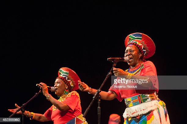 Nobesuthu Mbadu and Hilda Tloubatla of Mahotella Queens perform on stage for Mandela Day Concert at Edinburgh Jazz Blues Festival at Festival Theatre...