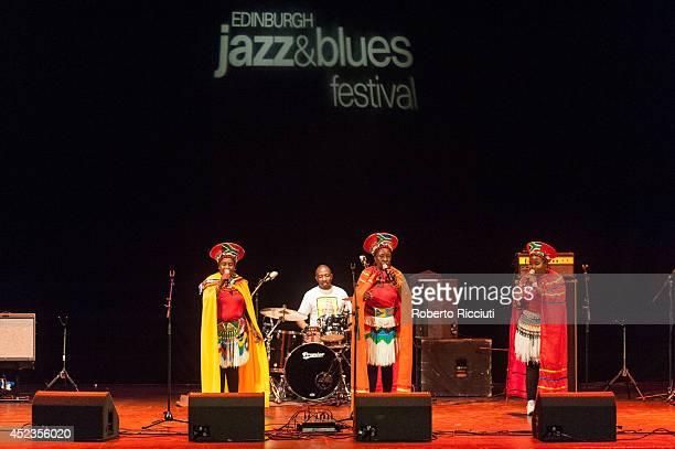 Nobesuthu Mbadu Hilda Tloubatla and Amanda Nkosi of Mahotella Queens performs on stage for Mandela Day Concert at Edinburgh Jazz Blues Festival at...