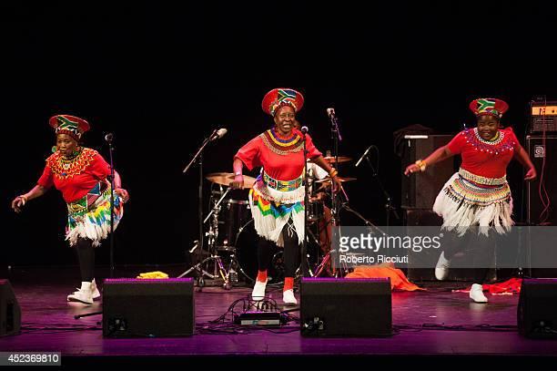 Nobesuthu Mbadu Hilda Tloubatla and Amanda Nkosi of Mahotella Queens perform on stage for Mandela Day Concert at Edinburgh Jazz Blues Festival at...
