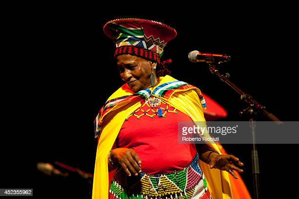 Nobesuthu Mbadu of Mahotella Queens performs on stage for Mandela Day Concert at Edinburgh Jazz Blues Festival at Festival Theatre on July 18 2014 in...