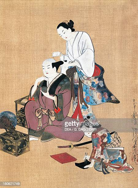 Noble being groomed artist from the Kaigetsudo school kakemono in ukiyoe style Japan Japanese Civilisation 18th century
