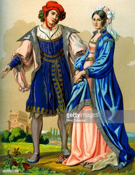 A noble French couple at the end of the 15th century A 19th century version based on an original 15th century tapestry in the church of St Paterne...