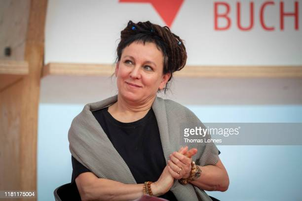 Noble Laureate in Literature Olga Tokarczuk attends the opening press conference of the Frankfurt Book Fair on October 15 2019 in Frankfurt am Main...
