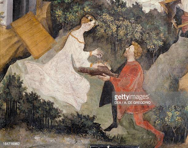 Noble offering a hawk to a lady detail from the Month of July panel taken from Cycle of the Months by Master Venceslao fresco Tower Aquila...