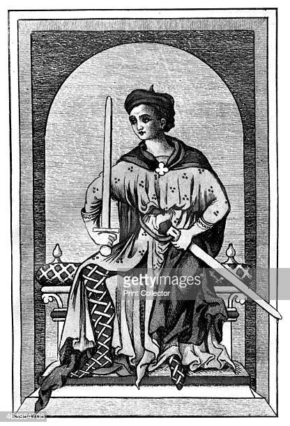 Nobleman 13th century The mantle is fastened with a quadrilobed morse and he wears crossgarters Illustration from British Costume during 19 Centuries...
