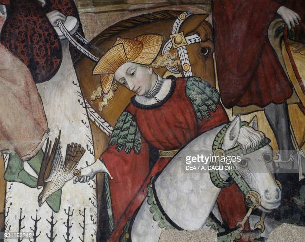 A nobleman hawking detail from the Fountain of Youth fresco in the Baronial Hall Castle of Manta Saluzzo Piedmont Italy 15th century