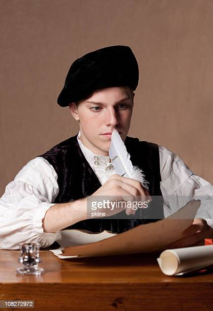 nobleman writing - quill pen stock photos and pictures