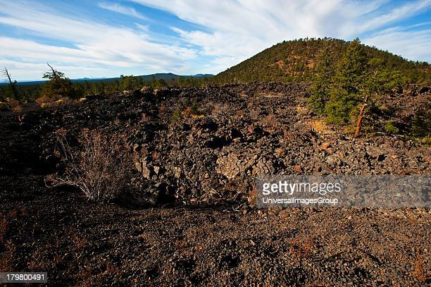 Nobody New Mexico Ice Cave and Bandera Volcano Lava Tube Entrance and Cinder Cone in the Distance