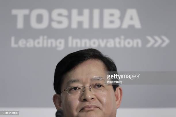 Nobuaki Kurumatani incoming chief executive officer and chairman of Toshiba Corp pauses during a news conference at the company's headquarters in...