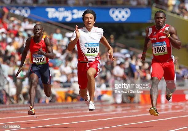 Nobuharu Asahara of Japan compete in the Men's 100m Heats at the National Stadium on day seven of the Beijing 2008 Olympic Games on August 15 2008 in...