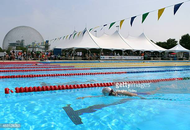 Nobuko Higuchi of Japan competes in the Women's 800m Freestyle at Parc JeanDrapeau during the 15th FINA World Masters Championships on August 03 2014...