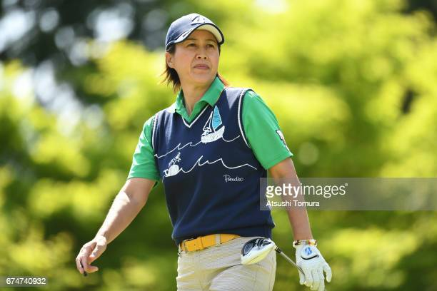 Nobuko Kizawa of Japan looks on during the second round of the CyberAgent Ladies Golf Tournament at the Grand Fields Country Club on April 29 2017 in...