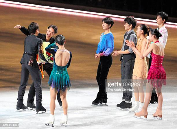 Nobunari Oda hugs Daisuke Takahashi during the gala exhibition as he announced the retirement during day four of the 82nd All Japan Figure Skating...