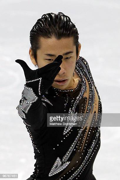 Nobunari Oda of Japan competes in the men's figure skating short program on day 5 of the Vancouver 2010 Winter Olympics at the Pacific Coliseum on...
