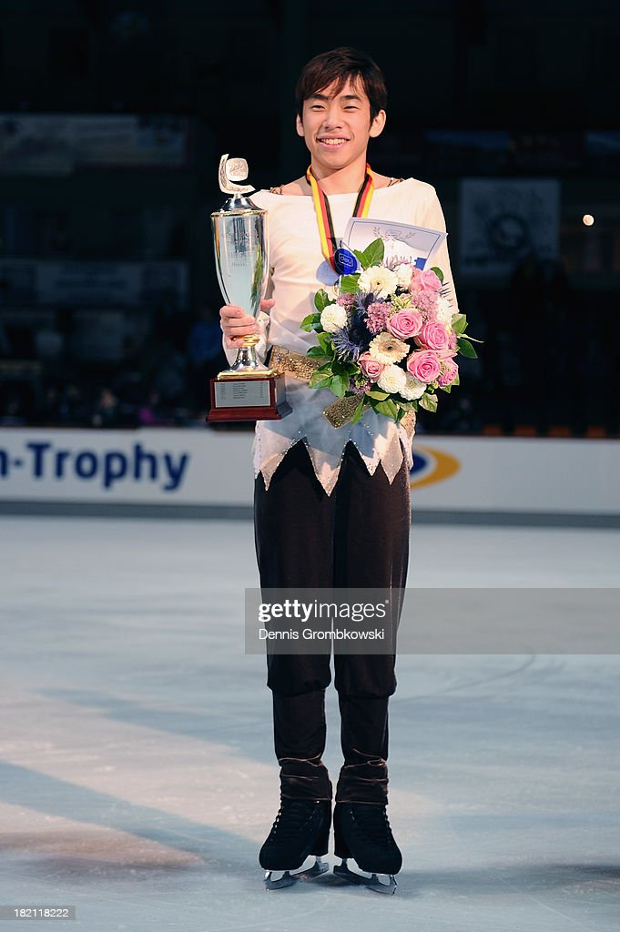 Nobunari Oda of Japan poses after winning the Men's competition during day three of the ISU Nebelhorn Trophy at Eissportzentrum Oberstdorf on September 28, 2013 in Oberstdorf, Germany.