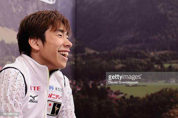 Nobunari Oda of Japan reacts after competing in the Men's Short Program during day two of the ISU Nebelhorn Trophy at Eissportzentrum Oberstdorf on...