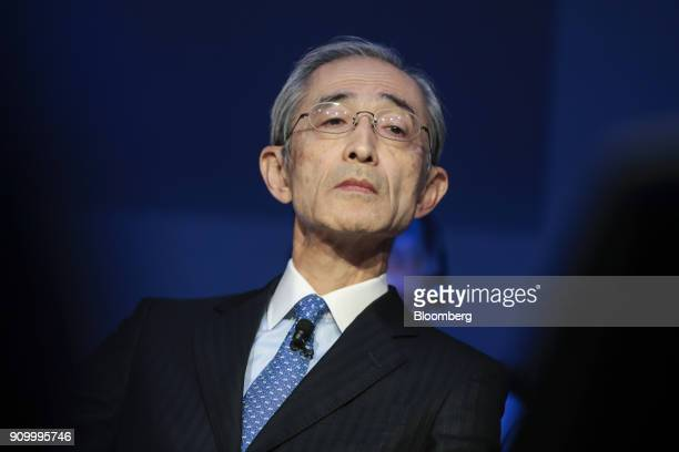 Nobuyuki Hirano president and chief executive officer of Mitsubishi UFJ Financial Group Inc reacts during a panel session on day three of the World...