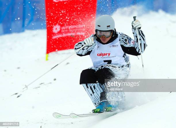 Nobuyuki Nishi of Japan competes during the men's moguls finals at the FIS Freestyle Ski World Cup January 4 2014 in Calgary Alberta Canada