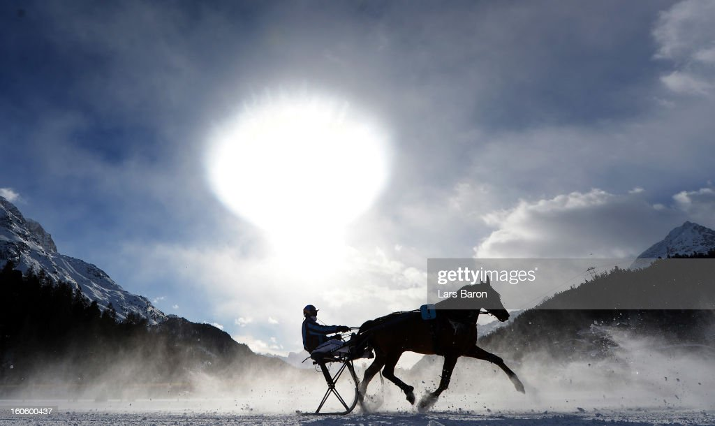 Noceen de Digeon ridden by Philippe Besson competes during the Grand Prix Elektro Koller race at the White Turf horse racing meeting held on the frozen Lake St Moritz on February 3, 2013 in St Moritz, Switzerland.
