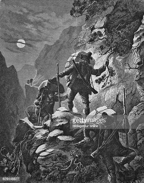 Nocturnal smugglers' run in the alps historical engraving 1869