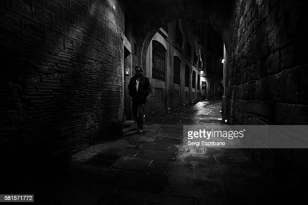 Nocturnal view of a street in the old town of Barcelona