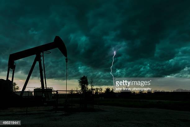 Nodding Donkey Lightning, Oklahoma USA