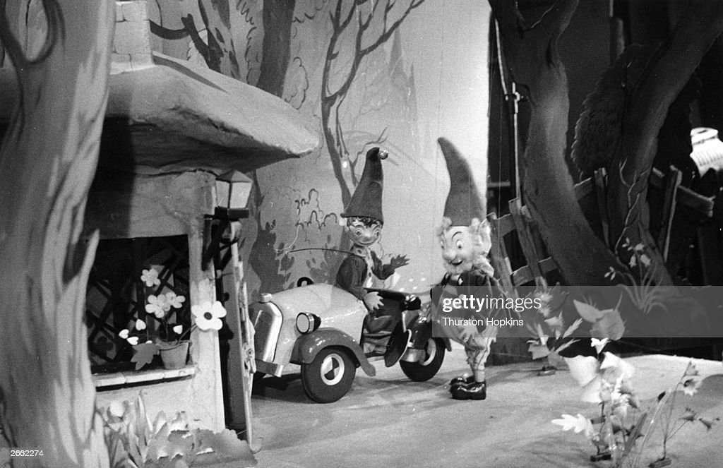 Noddy and Big Ears in the television programme 'The Adventures Of Noddy', which was broadcast on the first night of Independent Television. Original Publication: Picture Post - 8008 - The Opening Night - pub. 1955