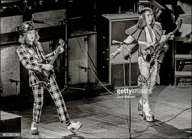 Noddy Holder and Dave Hill of Slade performing on stage Hammersmith Odeon London 16th May 1974