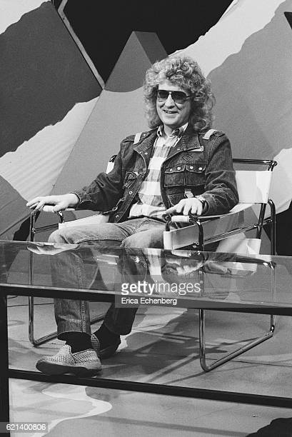 Noddy Holder of Slade on the set of a TV show London 1980