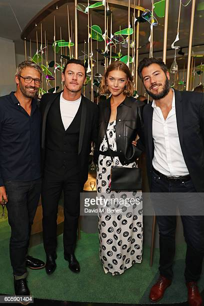 Noe DuchaufourLawrance Luke Evans Arizona Muse and Boniface VerneyCarron attend the opening party for L'Eden by PerrierJouet in London's Wardour...
