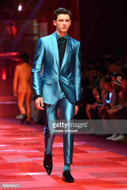 Noe Elmaleh walks the runway at the Dolce Gabbana show during Milan Men's Fashion Week Spring/Summer 2018 on June 17 2017 in Milan Italy