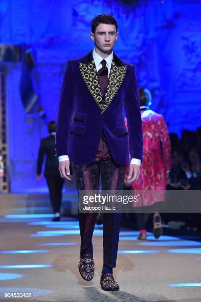 Noe Elmaleh walks the runway at the Dolce Gabbana show during Milan Men's Fashion Week Fall/Winter 2018/19 on January 13 2018 in Milan Italy