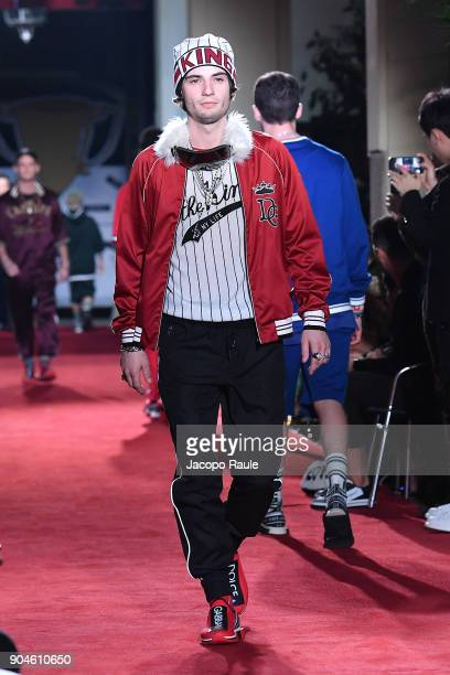 Noe Elmaleh walks the runway at the Dolce Gabbana Unexpected Show show during Milan Men's Fashion Week Fall/Winter 2018/19 on January 13 2018 in...